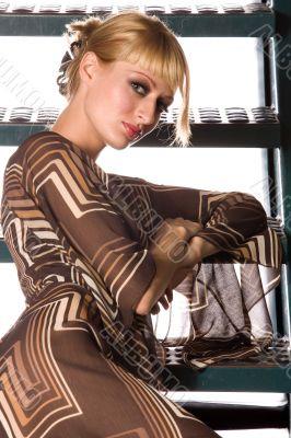 Paris Hilton look-a-like looking flirting