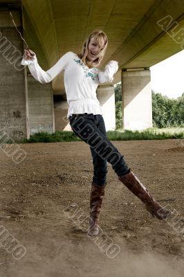 Paris Hilton look-a-like fashion shoot having fun