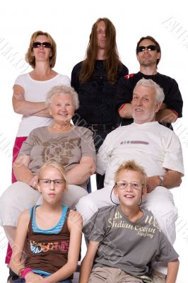 Studio family portrait of a crazy bunch
