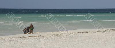 Black family on the beach