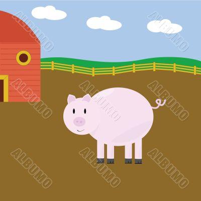 Cartoon pig on farm