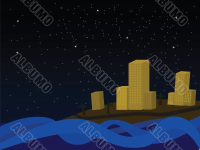 Coastal town by night