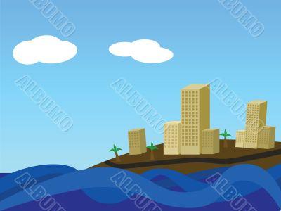 Coastal city by day