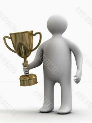 champion with a cup. Isolated 3D image.