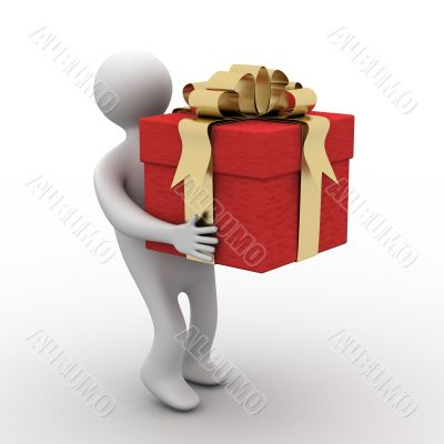 person bearing a gift box. 3D image.