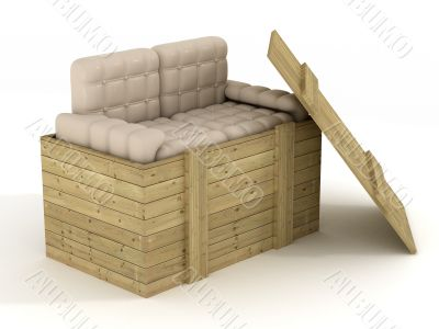 Leather sofa in an open box. 3D image.