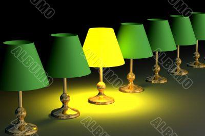One shone desk lamp among. 3D image.