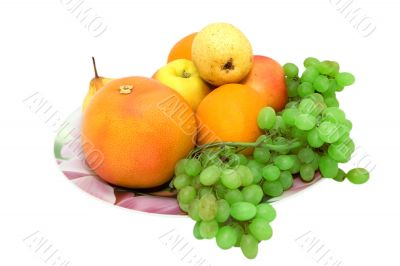 Dish full of fruits