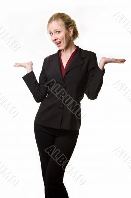 Business woman holding out hands