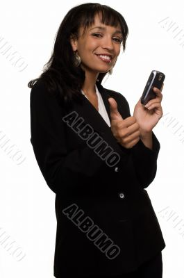 Business woman holding cell phone
