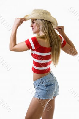 Profile of woman wearing cowboy hat