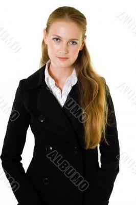 Long hair woman in suit