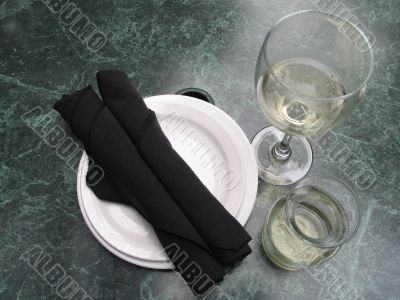 table setting with wine