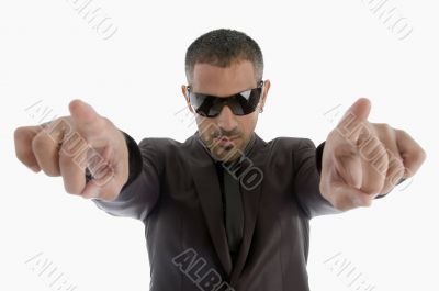 indicating businessman with sunglasses