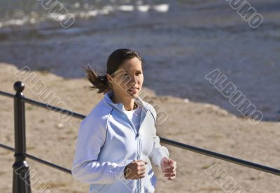 Jogging on the riverside