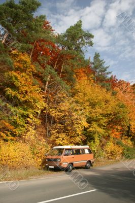 Autumn trip with a camping mobile
