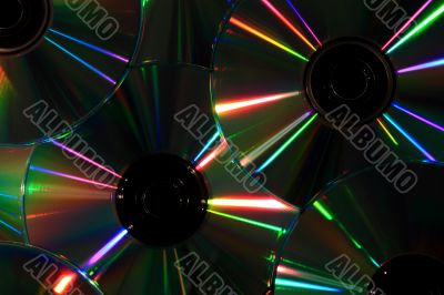 Compact discs and multi-coloured reflexions