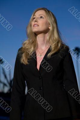 Blond woman outside