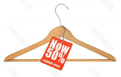 coat hanger and price tag isolated