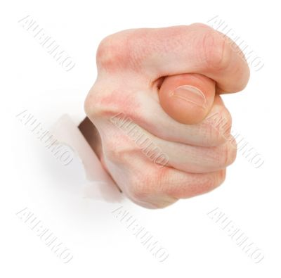 Gesture male hand through white paper