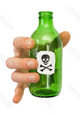 Male hand with green bottle pictured crossbones