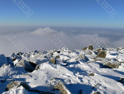 Sheregesh. At top of mountain over clouds.
