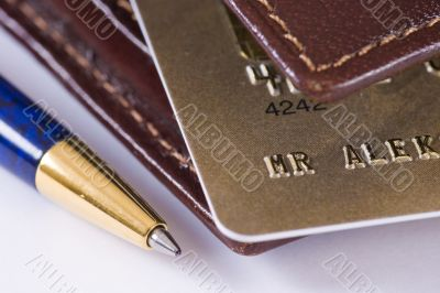 Credit card, wallet and pen