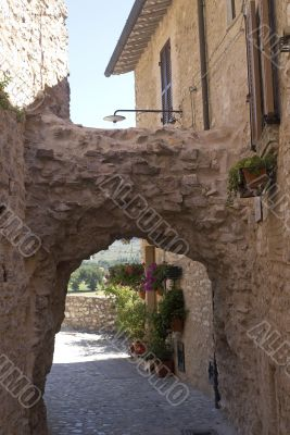 Spello - Typical alley with potted plants and flowers