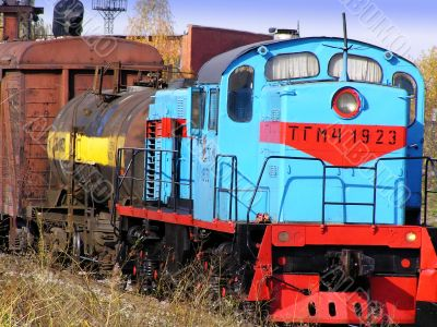 Close-up of freight train