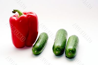 Combination of sweet pepper and fresh cucumbers