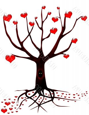 Tree of love with eyes