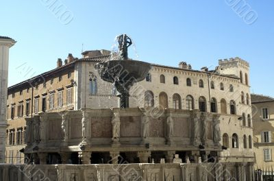 Perugia - Famous monumental fountain and other historic building