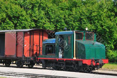 Old locomotive with wagon