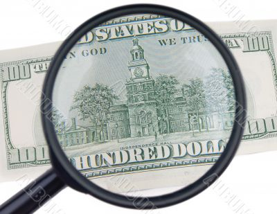 isolated magnifier with dollars