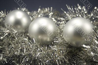 Christmas balls on tinsel