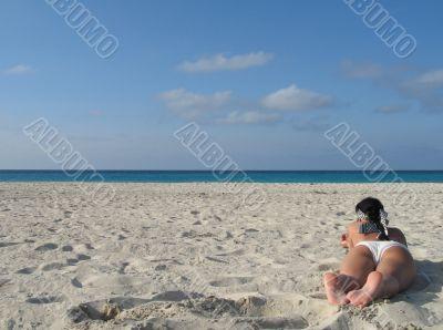 female in a white bikini