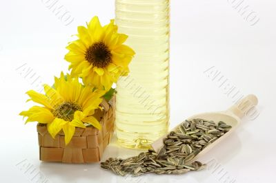 Oil Bottle with Sunflower Seeds
