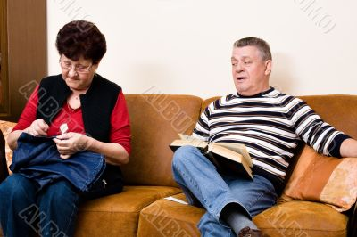 Elderly couple on the couch