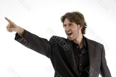 shouting man pointing sideways