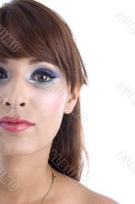 half length of woman`s face