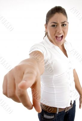 shouting woman pointing