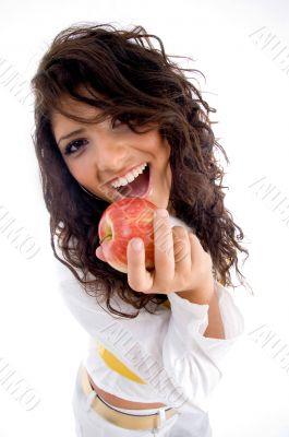 woman going to eat apple