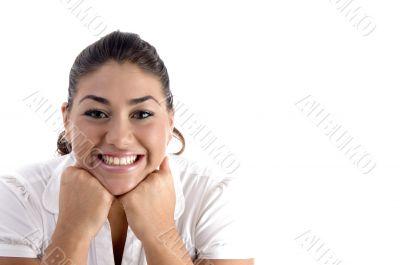 posing glad woman