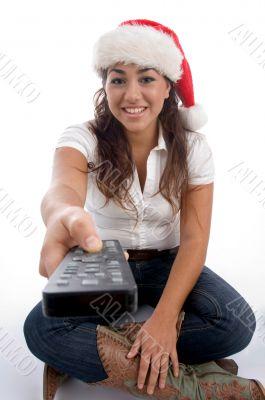 beautiful female wearing christmas hat