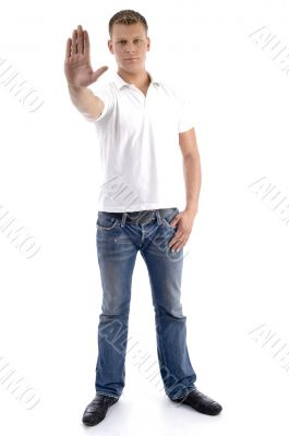 male gesturing stop with his hand