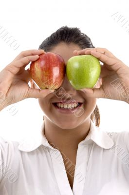 woman posing with apples