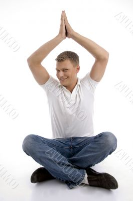 healthy guy in yoga position