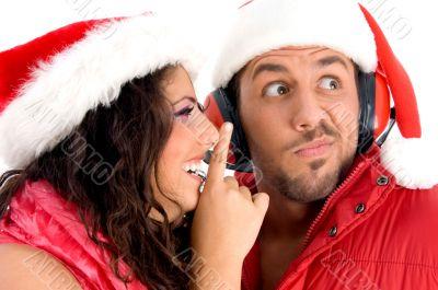 woman asking man to keep silent