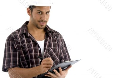 intelligent architect with note pad