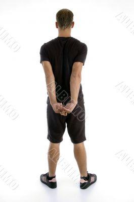 back pose of muscular man